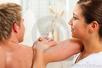 Patient at the physiotherapy at physical therapy
