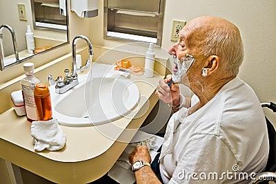Patient in Wheelchair Shaving