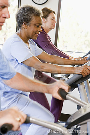 Free Patients In Rehabilitation With Exercise Machines Royalty Free Stock Photo - 9003265