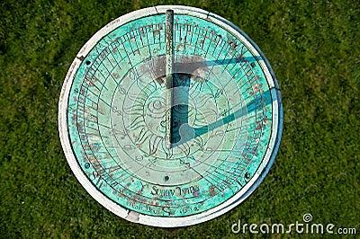 Patina weathered sundial