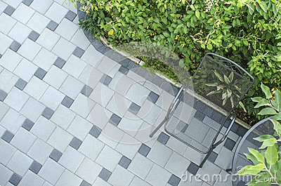 Patio blocks with chair