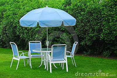Patio furniture on lawn