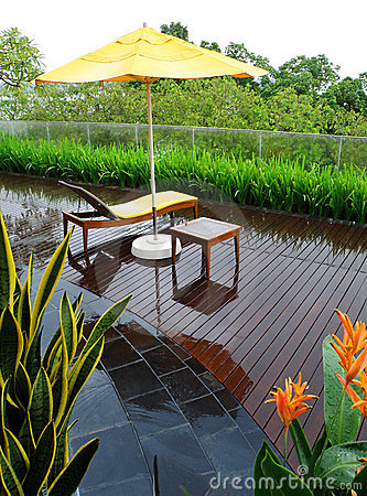 Free Patio Garden After Rain Stock Images - 10756834