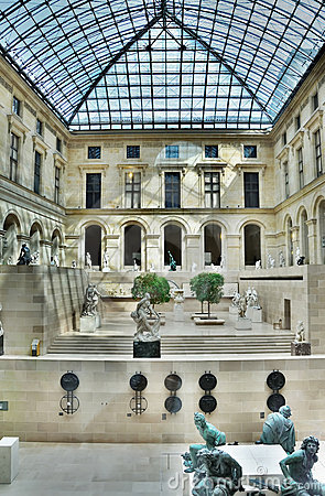 Patio inside Louvre, Paris, France Editorial Photo
