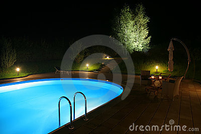 Patio and Pool by Night-2