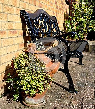 Patio seating area of an English Country garden