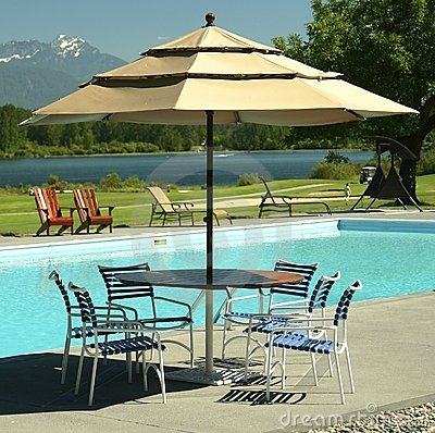 Patio Table Umbrella Pool Golf Royalty Free Stock Images Image 5862759