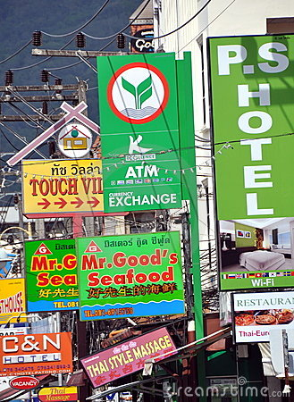 Patong, Thailand: Business & Shop Signs Editorial Stock Photo