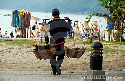 Patong, Thailand: Food Vendor on Beach Editorial Image