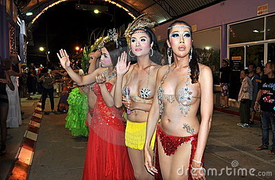 Patong, Thailand: Ladyboy Performers Editorial Stock Image
