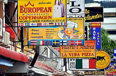 Patong, Thailand: Maze of Restaurant Signs Editorial Image