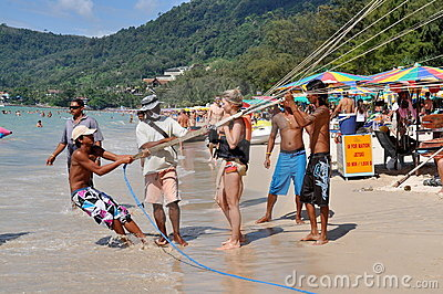 Patong, Thailand: Parasailing Rider Editorial Photo