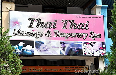Patong, Thailand: Sign for Massage Spa Editorial Stock Image