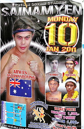 Patong, Thailand: Thai Boxing Poster Editorial Stock Image