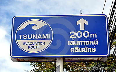 Patong, Thailand: Tsunami Evacuation Sign Editorial Stock Image
