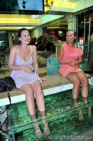 Patong, Thailand: Two Women Getting Fish Massage Editorial Stock Photo