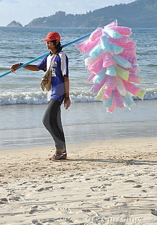 Patong, Thailand: Vendor Selling Cotton Candy Editorial Stock Photo