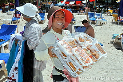 Patong, Thailand: Woman Selling Food on Beach Editorial Photo