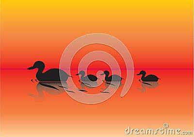 Patos en una ilustración de la charca