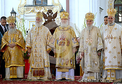 Patriarch Kirill and the other bishops on the service in Kiev, i Editorial Stock Image
