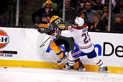 Patrice Bergeron and Brian Gionta (Bruins v. Habs) Editorial Photography