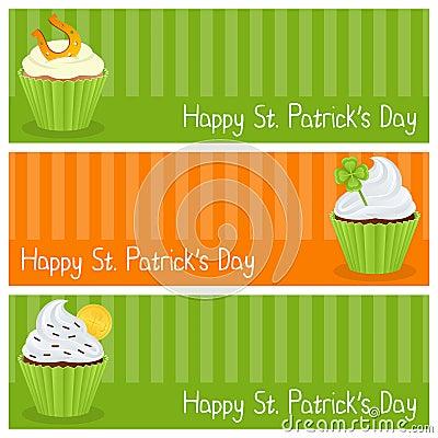 Patrick s Day Cupcake Horizontal Banners