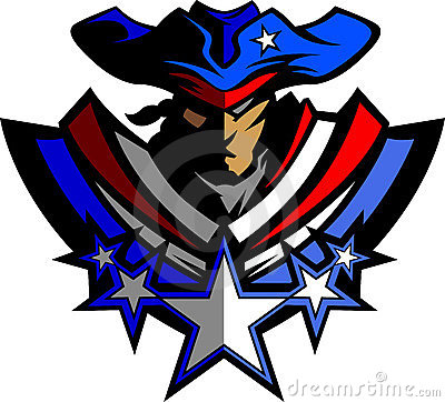 Patriot Mascot with Stars and Hat Vector Graphic