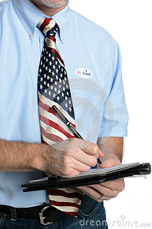 Free Patriot Voter Takes A Poll Stock Images - 27562104