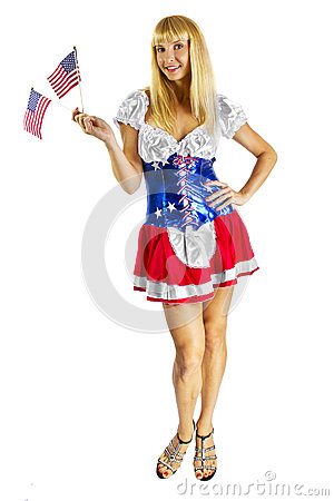 Patriotic American Girl with two flags