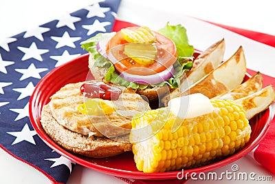 Patriotic American Turkey Burger