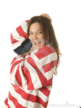 Patriotic American woman with USA flag