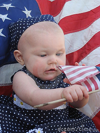 Free Patriotic Baby With Flag Stock Photo - 2461030