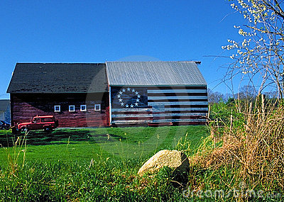 Patriotic Barn with American flag