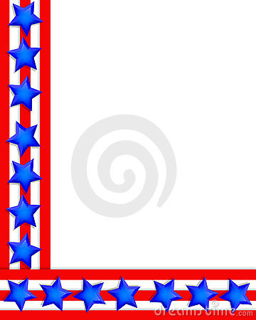 Patriotic Border 4th of July stars stripes