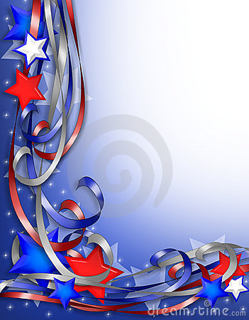 Patriotic Border Stars and Ribbons