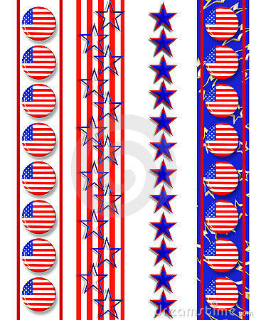 Patriotic borders 4th of July