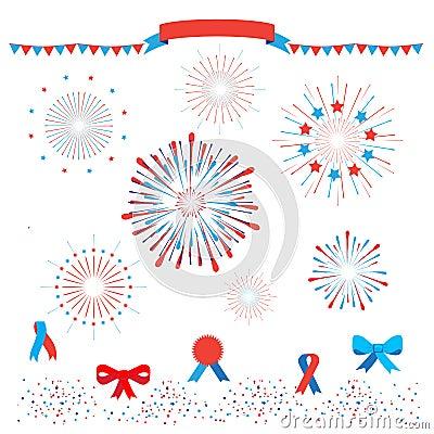 Free Patriotic Fireworks Royalty Free Stock Photos - 95442368