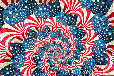 Patriotic grunge swirl with stars and stripes
