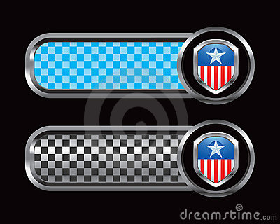 Patriotic icon on blue and black checkered tabs