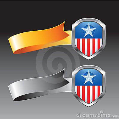 Patriotic icon orange and silver ribbons