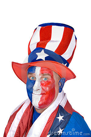 Patriotic man in costume celebrating July fourth