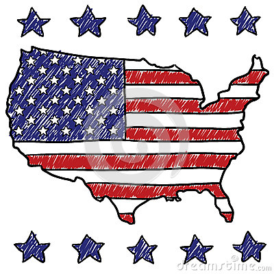 Patriotic map of the United States