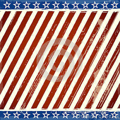 Patriotic stars and stripes background with grunge