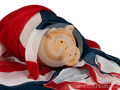 Patriotic UK pig in Union Jack flag