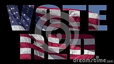 Patriotyczna wiadomość z amerykańską flagą nakłaniającą wyborców do głosowania na republikanina zbiory wideo