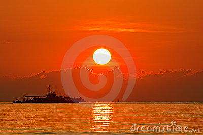 Patrol boats with sunrise