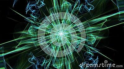 Patrones antiestrés mágico azul y verde, adorno vivo fractal con segmento de rotación, curvas verdes sobre negro libre illustration