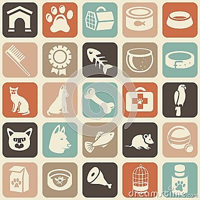 Patroon met grappige kat en hondpictogrammen