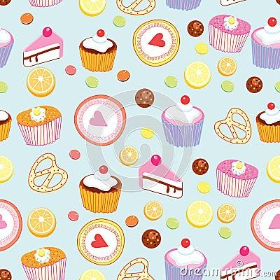 Patroon van cakes en gebakjes