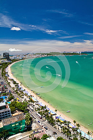 Free Pattaya Beach And City  Bird Eye View Stock Photography - 27165742